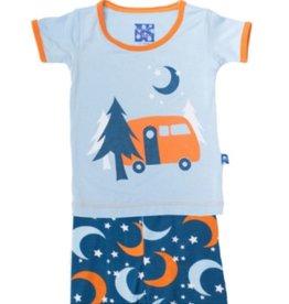 kickee pants twilight moon and stars print short sleeve pajama set with shorts
