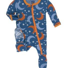 kickee pants twilight moon and stars footie with zipper