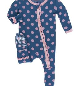 kickee pants twilight dot print muffin ruffle footie with zipper