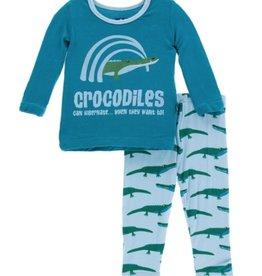 kickee pants pond crocodile print long sleeve pajama set