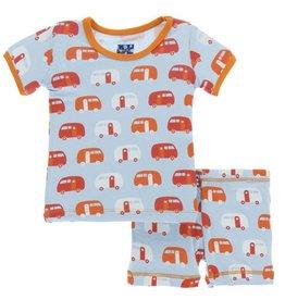 kickee pants pond camper short sleeve pajama set with shorts