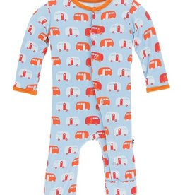 kickee pants pond camper print coverall with snaps