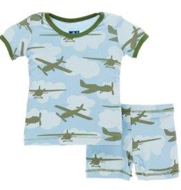 kickee pants pond airplanes print short sleeve pajama set