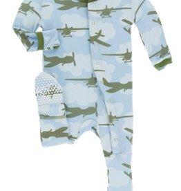 kickee pants pond airplanes print footie with zipper