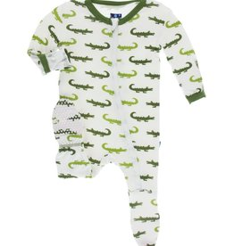 kickee pants natural crocodile print footie with zipper