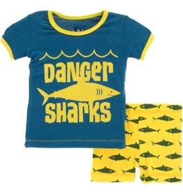 kickee pants lemon shark print short sleeve pajama set with shorts
