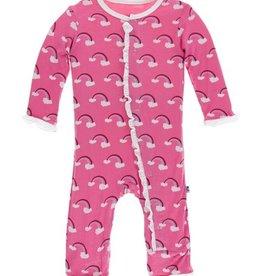 kickee pants flamingo rainbow - ruffle coverall w/ snaps