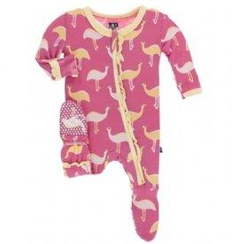kickee pants flamingo emu print ruffle footie with zipper