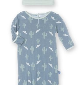 kickee pants dusty sky cactus layette gown converter & knot hat set