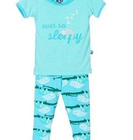 kickee pants confetti sloth print short sleeve pajama set