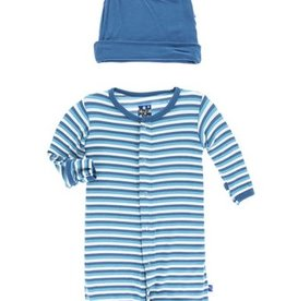kickee pants confetti anniversary stripe layette gown converter and knot hat set