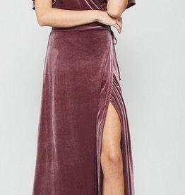 velvet wrapped holiday maxi dress
