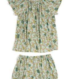 milkbarn blue floral bamboo dress & bloomer set