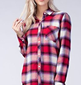 honey punch pretty in plaid button up FINAL SALE