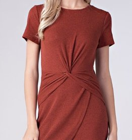 honey punch short sleeve dress with front knot