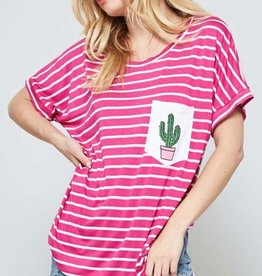striped tee with cactus patch pocket FINAL SALE