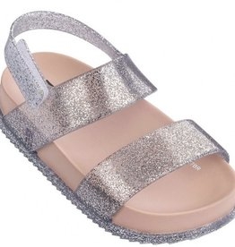 mini melissa mini cosmic sandal pnk silver glitter