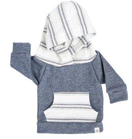 luluandroo slate blue and stone stripe hoodie FINAL SALE