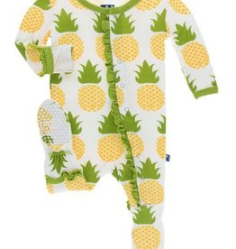 kickee pants natural pineapple print muffin ruffle footie with zipper