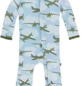 kickee pants pond airplanes print coverall with snaps