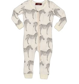 milkbarn grey zebra zip pjs