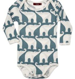 milkbarn long sleeve one piece - blue elephant