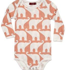 milkbarn long sleeve one piece - rose elephant