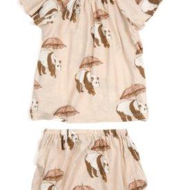 milkbarn pink panda bamboo dress & bloomer set