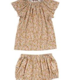 milkbarn rose floral bamboo dress & bloomer set