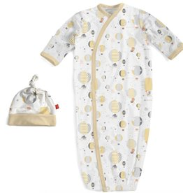 Magnificent Baby yellow up in the air modal magnetic gown and hat set