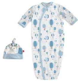 Magnificent Baby blue up in the air modal gown and hat set
