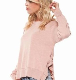 dex ruffle side long sleeve top