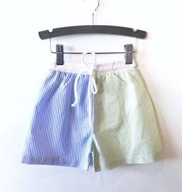 blue/green stripe swim shorts