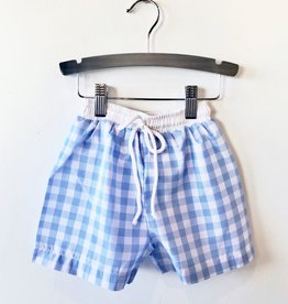 large gingham swim shorts