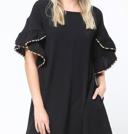 pom trim dress