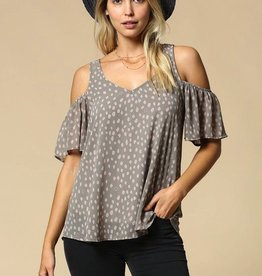 gray leopard print cold shoulder top