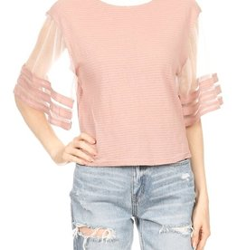 ribbed boat neck tee with mesh sleeve
