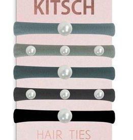 pearl 5pc hair tie - black/silver
