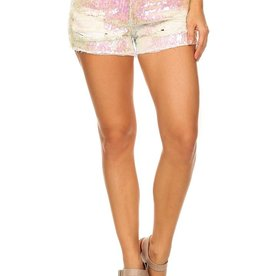 destroyed cut off sequin denim shorts