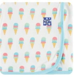 kickee pants natural ice cream print swaddling blanket