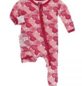 kickee pants roses print muffin ruffle footie with zipper