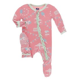 kickee pants strawberry carnival print muffin ruffle footie with zipper