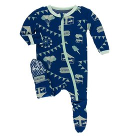 kickee pants flag blue carnival print footie with zipper