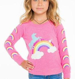 unicorn rainbows knit raglan pullover