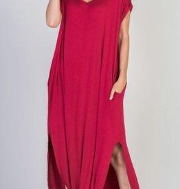 autumn red stretch jersey maxi dress