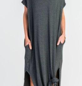 charcoal stretch jersey maxi dress