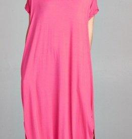 fuschia stretch jersey maxi dress