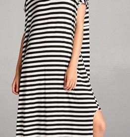 black striped stretch jersey maxi dress