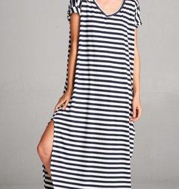 navy striped stretch jersey maxi dress