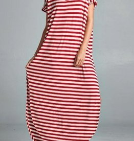 red striped stretch jersey maxi dress